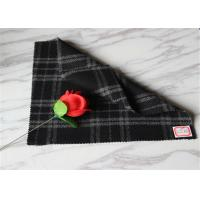 """59"""" Width Tartan Wool Fabric Black Background With White Line 40% Polyester Manufactures"""