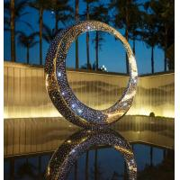 China Moon Shape Abstract Metal Sculpture As Outdoor Square Decoration With LED Light on sale