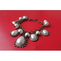 2013 new artificial metal casting jewelry multiple beaded charms teardrop pearl bracelet for ladies women Manufactures
