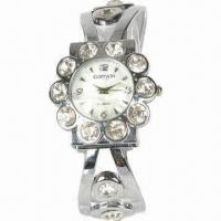 Bangle Cuff Bracelet Wristwatches with Alloy Case and Band, Stylish and Novelty Manufactures