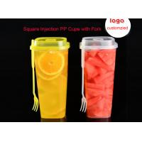 China 700ml 860ml 1000ml Plastic Milk Tea Cup Injection Disposable Square Cups With Fork on sale