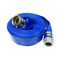 Blue Pvc Layflat Hose Aging Resistance For Water / Light Chemical Discharge Manufactures