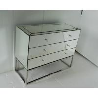 China Stainless Steel Base Mirrored Cabinet Chest , Antique Mirror Table 3 Drawers Chest on sale