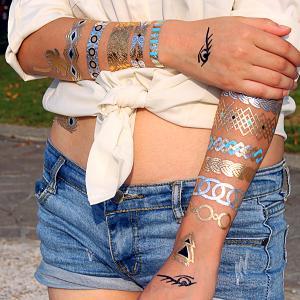 China Customized Temporary Tattoo Sticker Metallic Flash Tattoo on sale