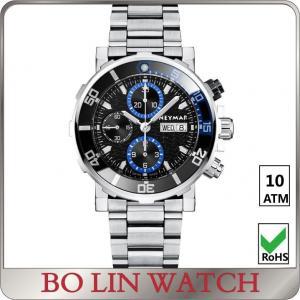Sunburst Dial Effect Fashion Water Resistant Sports Watch , Quartz Chronograph Watch For Men Manufactures