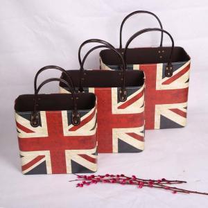 China Home Decoration UK Flag Pattern Box Printing Faux Leather Magazine Basket Custom Wine Picnic Basket on sale