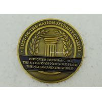 Antique Gold University Personalized Coins , Brass Stamped Soft Enamel Military Challenge Coin Manufactures