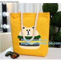 China Wholesale white color letters series printing rough rope handle cotton canvas fabric foldable tote shopping bag bagplast on sale