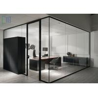 Aluminium Clear / Frosted Glass Office Partitions Interior Soundproof Manufactures