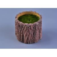 Recyclable Wood Timber Brown Cement Candle Flower Jar Eco - friendly Manufactures