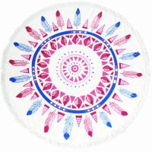 China Wholesale Factory Large Custom Printed Round Mandala Cotton Microfiber Beach Towel on sale