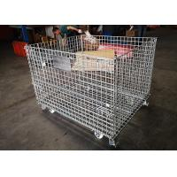 Folding Standard Size Galvanized Wire Mesh Cages Anti Oxidizing With Wheels