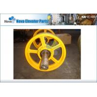 Customized Cast Iron Elevator Traction Pulley Sheave in Yellow Color, Elevator Pulley Wheel Manufactures
