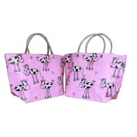 Eco-friendly Recyclable Flowers Purple PP Woven Shopping Bag With PVC Handle Manufactures