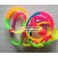 Rainbow rubber bracelets, rainbow silicone wristbands, soft rubber bands Manufactures