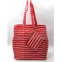 Red Stripe Polyester Reusable Shopping Bags With Pouch OEM / ODM Available Manufactures
