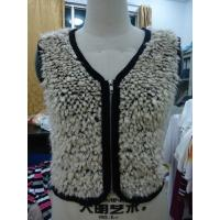 Faux Fur Black Binding Fashionable Winter Coats Sleeveless Zip Up Vest For Lady Manufactures