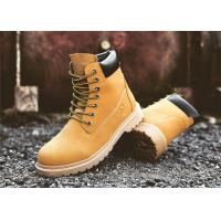 High Cut Yellow Work Safety Shoes Mens Safety Work Boots Cowhide Leather Upper Manufactures