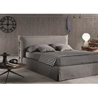China Contemporary Light Grey Upholstered Bed , Queen Platform Bed With Headboard on sale