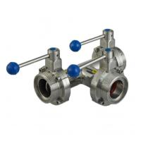 Sanitary Hygienic Butterfly Valve Stainless Steel Food Grade Male Thread 3 Way Manufactures