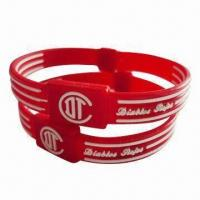 100% Synthetic Embossed Silicone Wristband, Suitable for Promotion, Fund Raising and Organization Manufactures