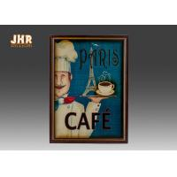 Blue Wall Hanging Plaques Coffee House Wall Decor Antique Wooden Wall Art Signs Manufactures