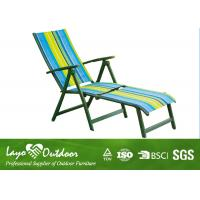 Patio 5 Position Beach Chair With Footrest / Sling Fabric Chaise Lounge Outdoor Furniture Manufactures