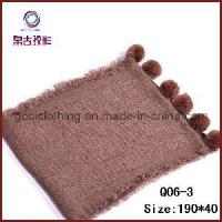 China Double Knitting Pompon Scarf (Q06-3) on sale