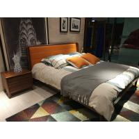 Quality 2017 New design of  Leather Upholstered headboard Bed by Walnut wood frame for Young Apartment  bedroom furniture use for sale