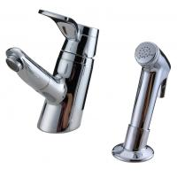 Unique 2 Hole Ceramic Low Pressure Basin Taps Faucets , Pull Out Shower Head With Switch Manufactures