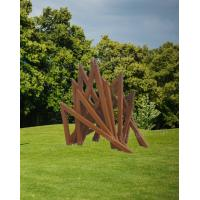 China Abstract Rusty Corten Steel Lawn Statue Triangle Sculpture With Corrosion Stable Feature on sale