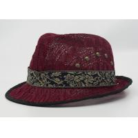 Buy cheap Dark Red Mesh Fisherman Bucket Hat With Silk Ribbon For Summer from wholesalers