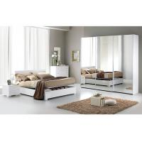 Contemporary White High Gloss Bedroom Furniture Sets 3 Door Sliding Wardrobe  Manufactures