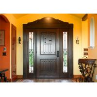 Magahongany Front Main Solid Wood Replacement Doors Finished Surface Treatment Manufactures