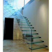 Indoor laminated glass staircase  cantilever stair Manufactures
