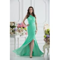 Gorgeous Green One Shoulder Mermaid Floor Length Chiffon Evening party Dress With Beads Manufactures