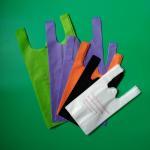 Biodegradable Non woven vest bag, black color, 30gsm,  size 20+12x40cm,100% virgin, eco-friendly Manufactures