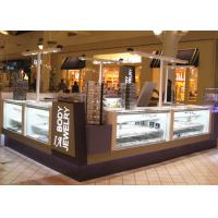 Fully Lockable Mall Jewelry Kiosk White Purple Color With Tempered Glass Material Manufactures