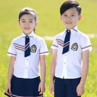 China Square Collar Polyester Kids School Uniform White Short Shirt For Girls And Boys on sale