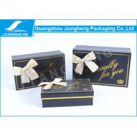 China Black Decorative Cardboard Gift Boxes , Bowknot Unique Base And Lid Cardboard Boxes on sale