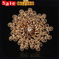 Golden Yellow Peacock Flower Crystal Brooch ,Big Peacock Lapel Flower Brooch Wholesale Manufactures