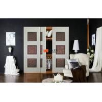 China Automatic Laminated MDF / HDF Wooden Leather Sliding Door With Caster Wheel / Roller on sale