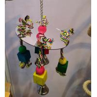 big bird kabob toys with acrylic mirror and wooden beads on cotton ropes Manufactures