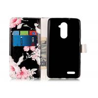 Scratch Resistance Pu Leather TPU Phone Case Black Color With Flower Printing For Iphone Manufactures