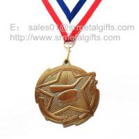 China Custom metal blank engraved hockey medals with ribbon, antique brass plated, on sale