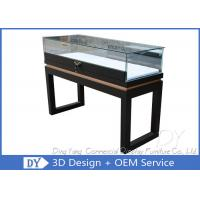 Black Custom Glass Display Cases Plinth For Jewelry / Watch With LED Lighting Manufactures