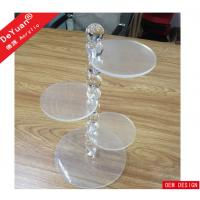 3 Tiers Customized Clear Acrylic Cake Stand With Bubble Rod Display Manufactures