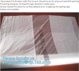China auto adhesive paint masking protect film 3.8*100m,HDPE car overspray masking film Logo printing,Antistatic corona treate on sale