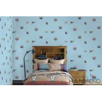 Blue Color Kids Bedroom Wallpaper English Letters Design Breathable Non Toxic Manufactures