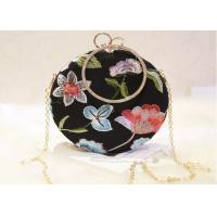 China Ladies Round Shape Black Embroidered Evening Bag With Crystal Handle on sale
